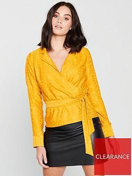 miss-selfridge-jacquard-wrap-blouse-ochre