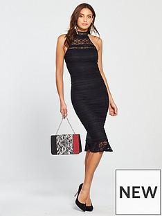 ax-paris-lace-frill-texture-bodycon-midi-dress-black