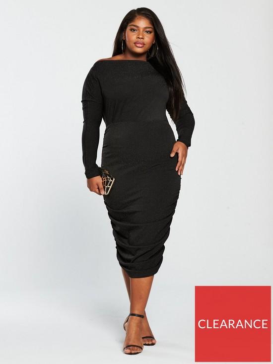 691b60d4a7a AX PARIS CURVE Curve Sparkle Ruched Midi Dress - Black