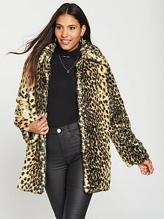 warehouse-faux-fur-animal-coat-tobacco
