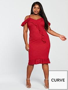 f1b05c959855 AX PARIS CURVE Curve Lace Frill Detail Midi Dress - Red