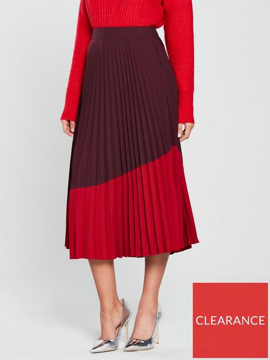 5bbc288a81b850 Warehouse Colour Block Midi Skirt - Ruby