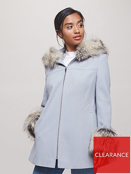 miss-selfridge-petite-faux-fur-trim-duffle-wool-coat-grey