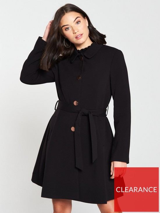 03a7cded286 Oasis Cherry Lightweight Princess Coat - Black   very.co.uk