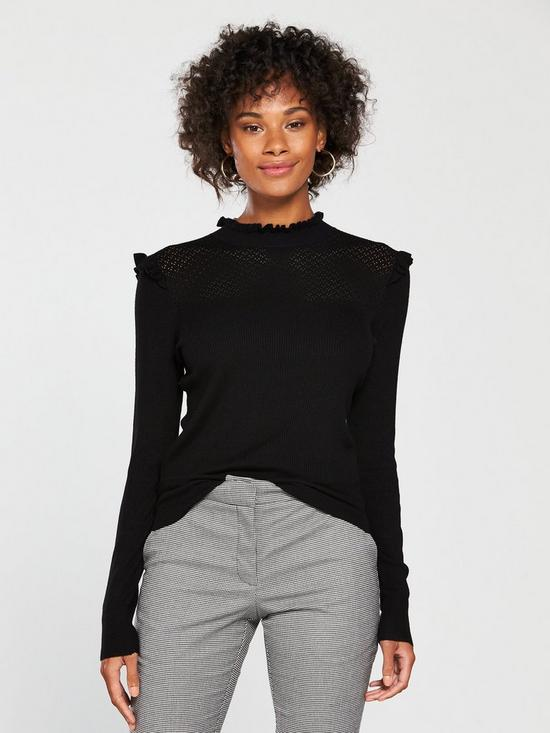 18bfab1878ac Oasis Pointelle Cute Frill Knitted Jumper - Black | very.co.uk