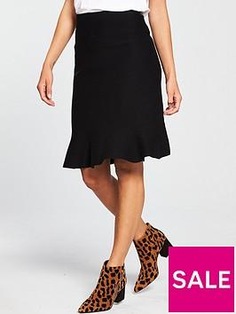 oasis-pencil-flute-knitted-skirt-black