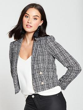 miss-selfridge-boucle-jacket-black