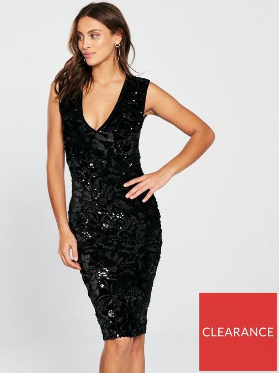 21a2ef3f8a AX Paris V Front Sequin Velvet Bodycon Dress - Black