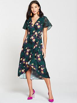 oasis-shadow-fridanbspmix-wrap-dress-multi-green