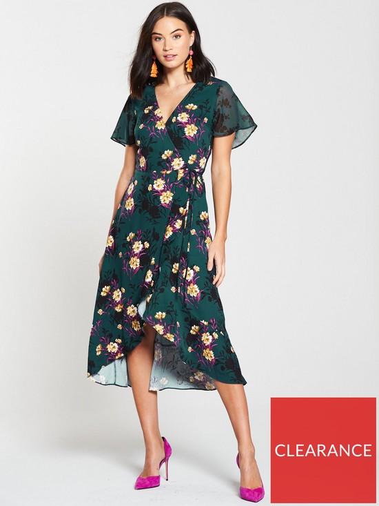 1475fabbf630 Oasis Shadow Frida Mix Wrap Dress - Multi Green | very.co.uk