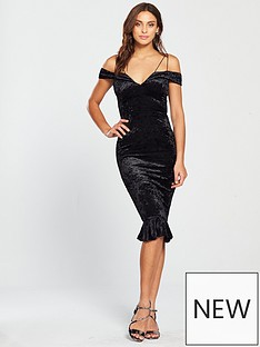 ax-paris-strappy-velvet-frill-hem-dress-black
