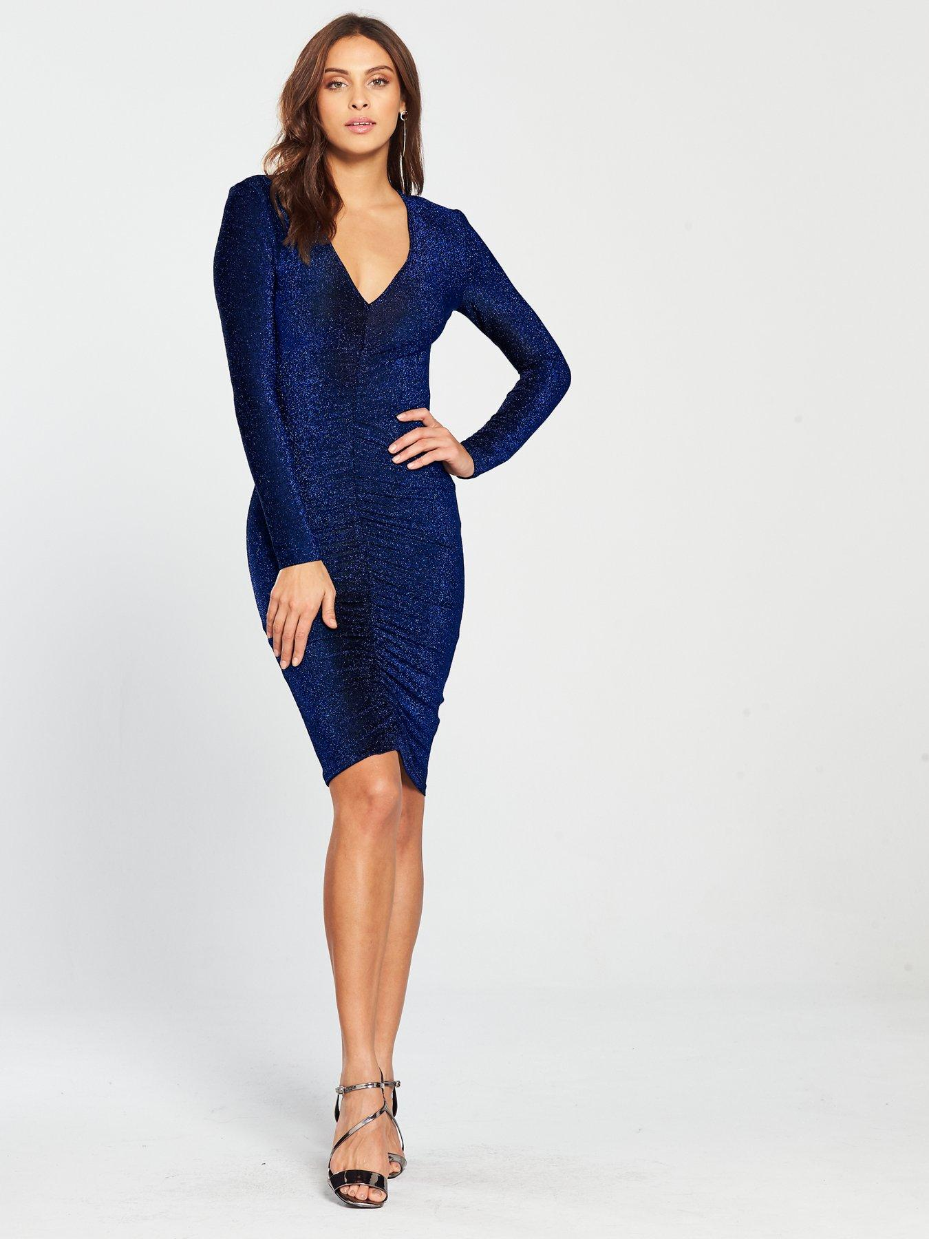 Blue Ruched Dress