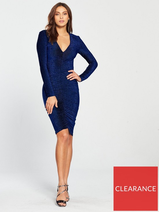 efbd3e40 AX Paris Ruched Front Sparkly Dress - Blue | very.co.uk