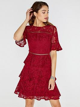 Girls On Film Lace Tiered Dress - Burgundy