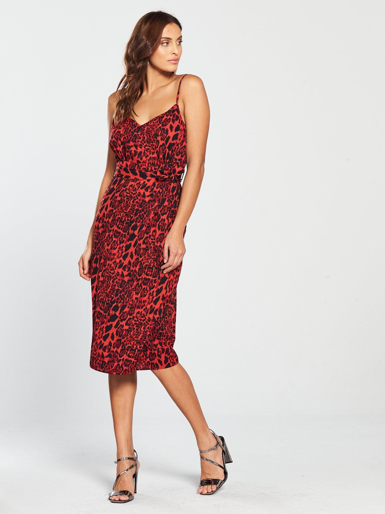 Red Leopard Print Dress