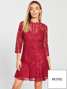 little-mistress-petite-long-sleeve-lace-skater-mini-dress-red