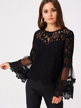 girls-on-film-fluted-lace-top-black