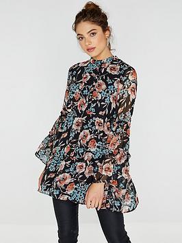 Girls On Film Chiffon Print Smock Dress - Black Floral