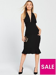 4ed3bca63e AX Paris Petite Halterneck Deep V Neck Frill Hem Dress - Black
