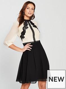 little-mistress-lace-trim-34-sleeve-mini-dress-creamblacknbsp