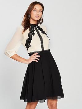 little-mistress-lace-trim-mini-dress-creamblack