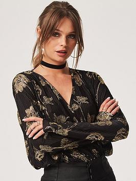 girls-on-film-gold-rose-printed-on-plisseacutenbspbody-top-black