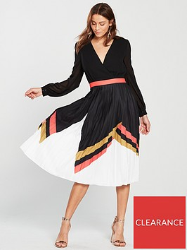 little-mistress-little-mistress-geo-print-belted-pleated-skirt-midi-dress