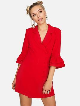 Girls On Film Blazer Dress - Red