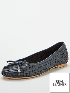 v-by-very-mandy-leather-weave-ballerina-black