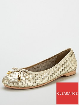 v-by-very-mandy-leather-weave-ballerina-gold-metallic