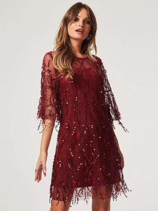 4a722853b3df Girls on Film Fringe Sequin Over Sized T-Shirt Dress - Burgundy ...