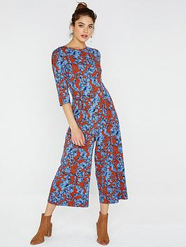 girls-on-film-printed-jumpsuit-with-tie-back-brown