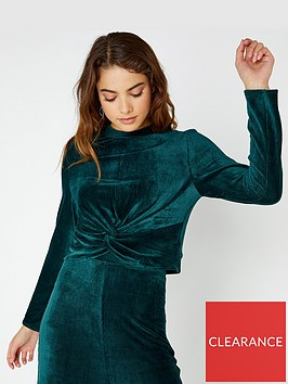 girls-on-film-stretch-mini-cord-knot-front-top-emerald-green