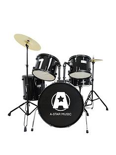 rocket-rocket-5-piece-rock-drum-kit-in-black-with-free-online-music-lessons