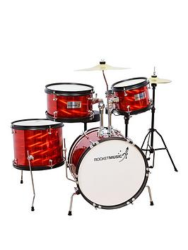 rocket-music-rocket-5-piece-junior-drum-kit-red-with-free-online-music-lessons