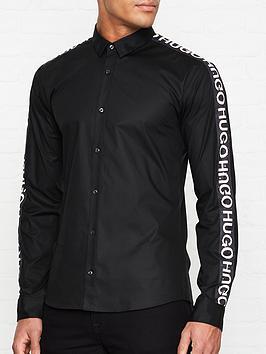hugo-ero3-w-logo-tape-sleeve-slim-fit-shirt-black