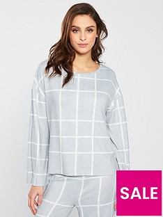 V by Very Check Print Lounge Top - Grey Cream c954fd857