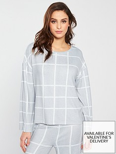 62d210d58a V by Very Check Print Lounge Top - Grey Cream