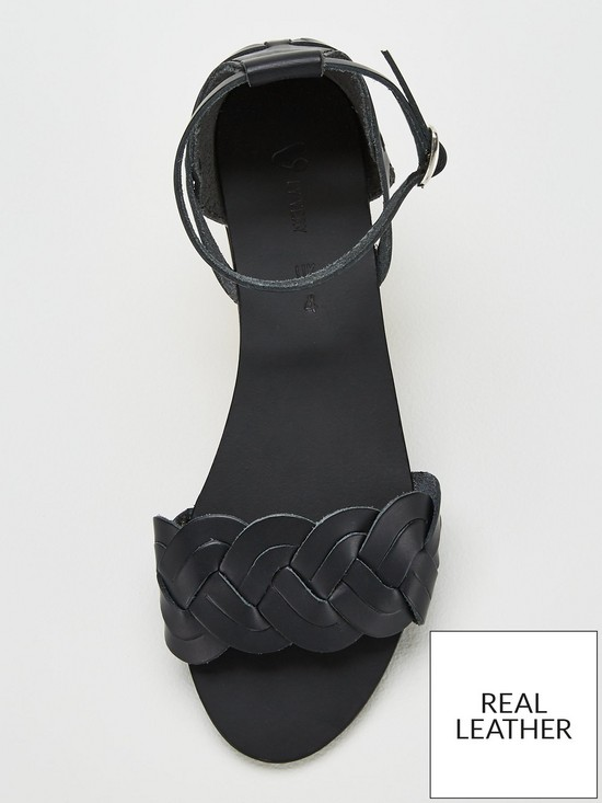 b3b51e025 ... V by Very Hatti Leather Braided Huarache Sandals - Black. View larger