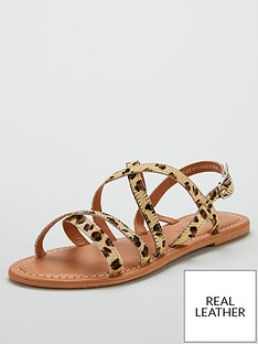 27124ea4d V by Very Hannah Strappy Leather Flat Sandals - Leopard