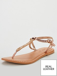 1e6d43dc08f V by Very Harmony leather embellished toepost sandal