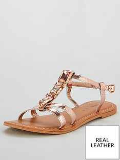 4112aff014a V by Very Honey Jewel Trim Leather Flat Sandals - Rose Gold