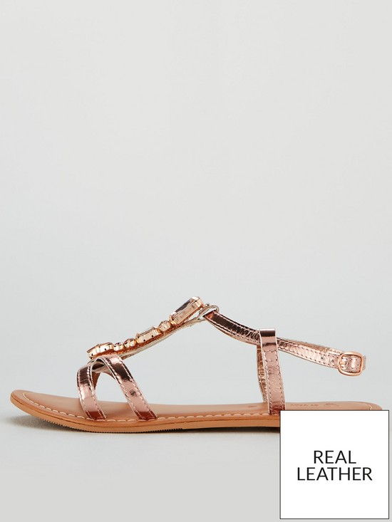 6ed7363f27f ... V by Very Honey Jewel Trim Leather Flat Sandals - Rose Gold. 11 people  have looked at this in the last couple of hrs.