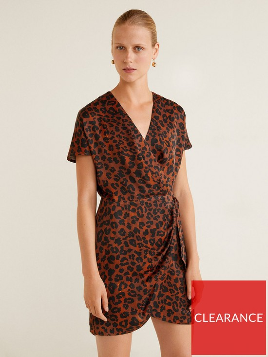 d3490ee5329c Mango Mini Wrap Over Leopard Print Dress - Brown | very.co.uk