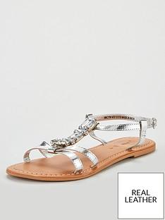bd19f5e2321 V by Very Honey jewel trim leather flat sandal
