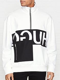 hugo-darrius-logo-print-half-zip-sweatshirt-white