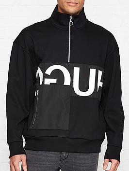 hugo-darrius-logo-print-half-zip-sweatshirt-black