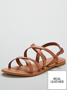 dcf4c57a3109d V by Very Hannah strappy leather flat sandal