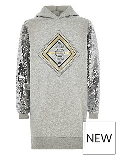 river-island-girls-grey-print-sequin-sleeve-hoodie-dress