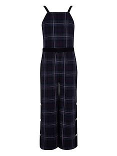 river-island-navy-check-popper-jumpsuit